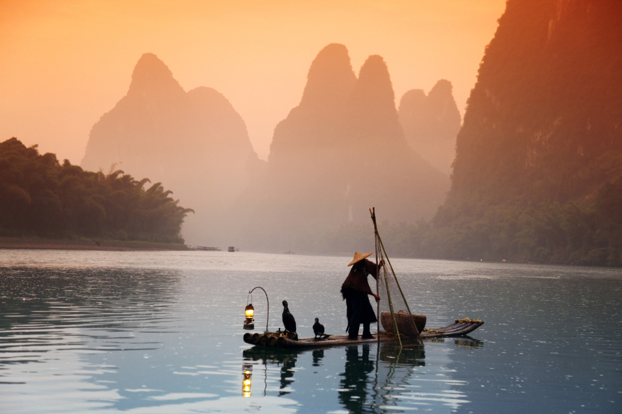 Chinese man fishing