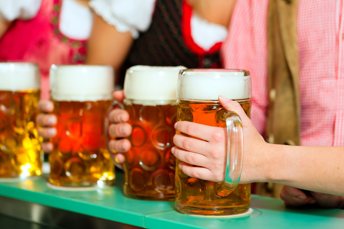 Young people are drinking beer in Bavaria