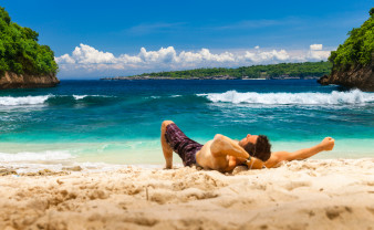 relaxing on a picturesque beach