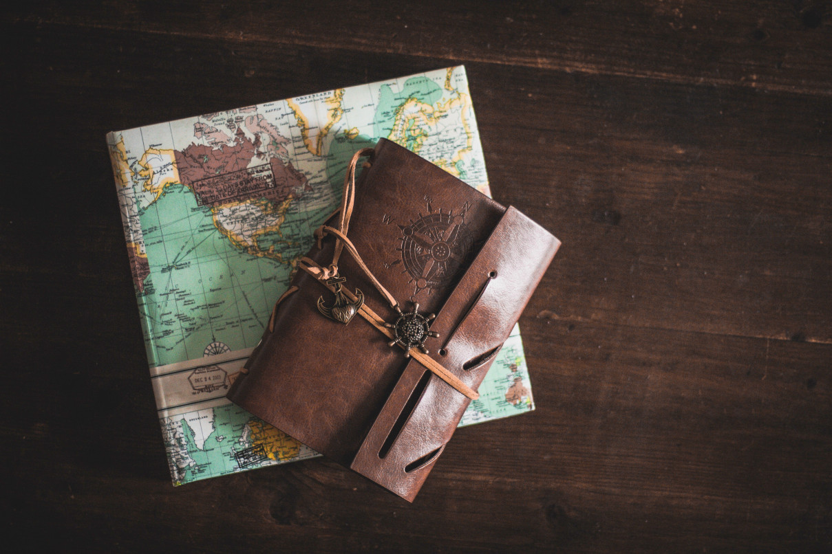 Personalised leather-bound travel journal