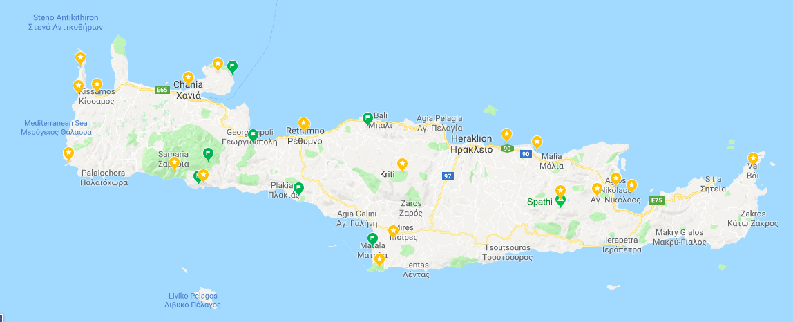 google pins in crete