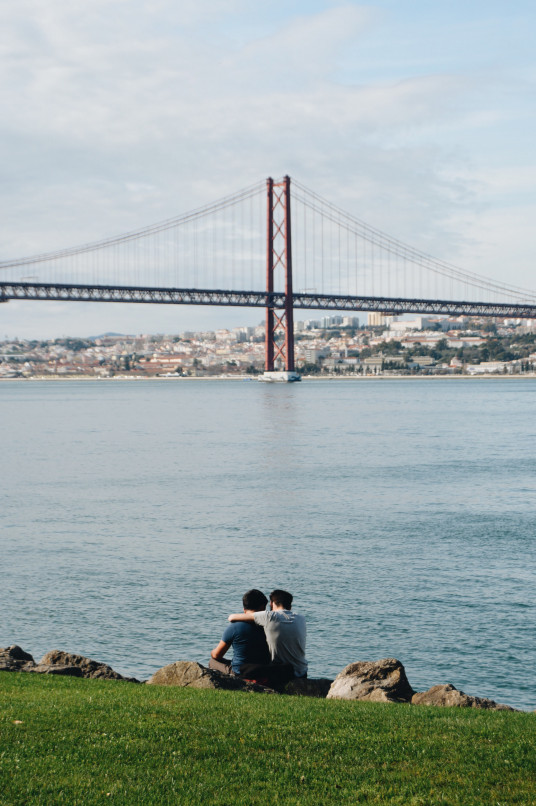 gay couple in lisbon honeymoon